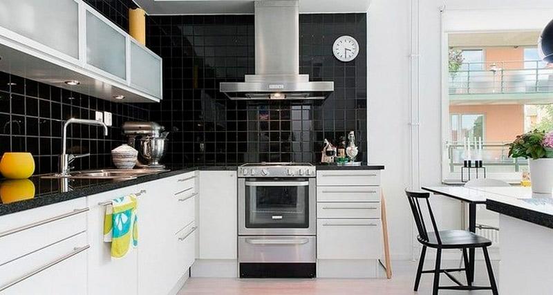 Отделочные материалы для чёрно-белой кухни