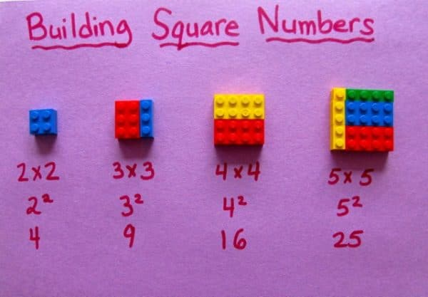 Как обяснить ребенку квадрат числа с помощью Лего