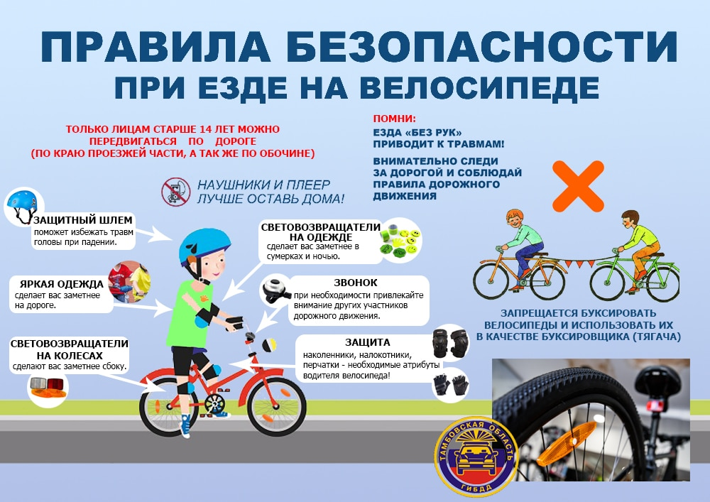 Правила безопасности на велосипедах