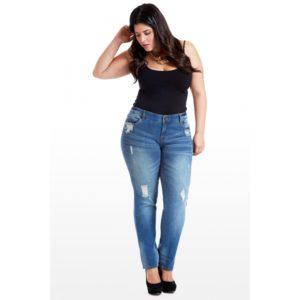 Потерные джинсы большого размера