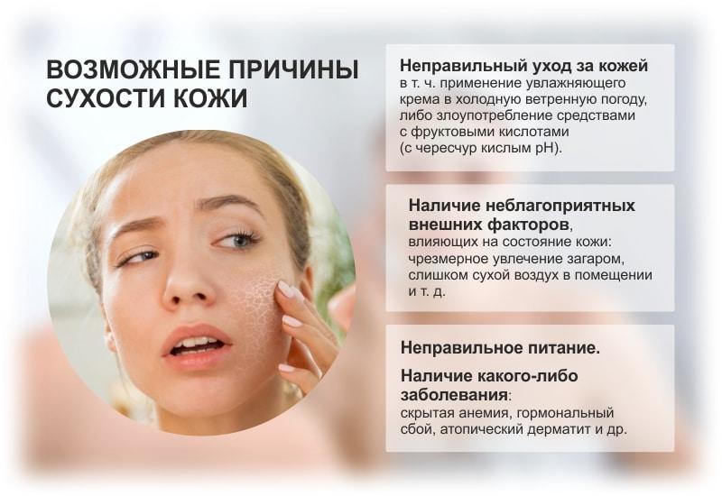 Причины чрезмерной сухости кожи
